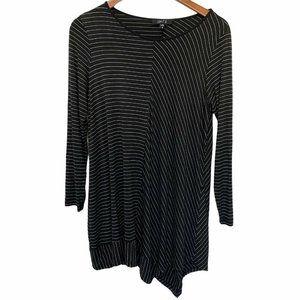 COMFY USA White Black Stripe Jersey Tunic Top Size